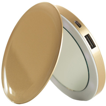 Pearl Compact Mirror + USB Rechargeable Battery Pack (Gold)