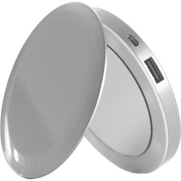 Pearl Compact Mirror + USB Rechargeable Battery Pack (Silver)