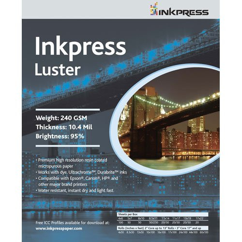 Luster 240Gsm 8.5X11- 100 Sheets