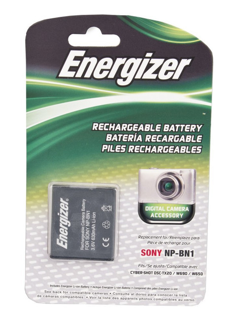 Energizer ENB-SBN Digital Replacement Battery NP-BN1 for Sony TX100, TX9, W350, W570 and WX9 (Black)