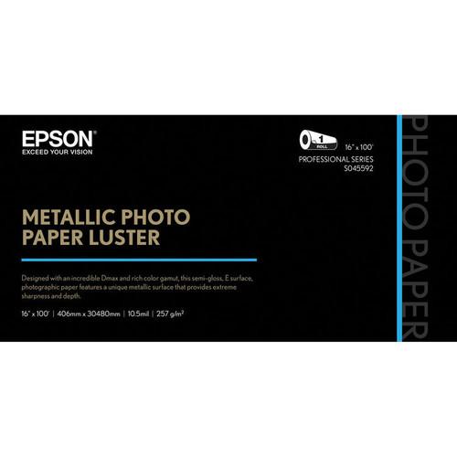 "Epson Metallic Photo Paper Luster (16"" x 100', 1 Roll)"