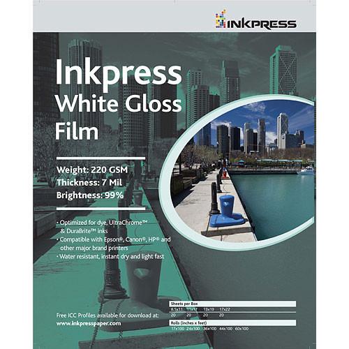 "24""X50' White Gloss Film 220Gsm/7Mil"