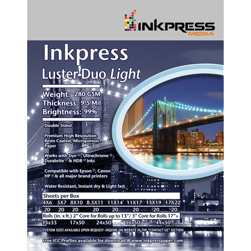 "Inkpress Media Luster Duo Light Double-Sided Photo Inkjet Paper (5.0 x 7.0"", 20 Sheets)"