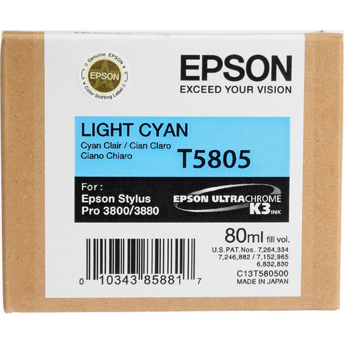 Epson UltraChrome K3 Ink For 3800 & 3880 - Light Cyan (80 ml)