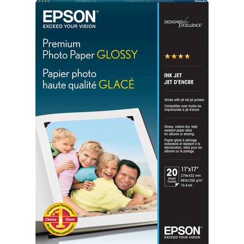 "Epson Premium Glossy Photo Paper for Inkjet 11x17"" (B) - 20 Sheets"