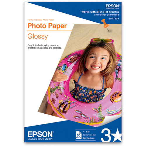 """Epson Glossy Photo Paper Borderless for Inkjet - 4x6"""" (A6) - 50 Sheets"""