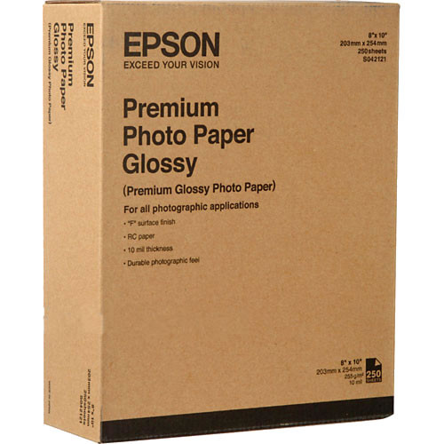 "Epson 8""X10"" 250Sh Premium Glossy Photo Paper"