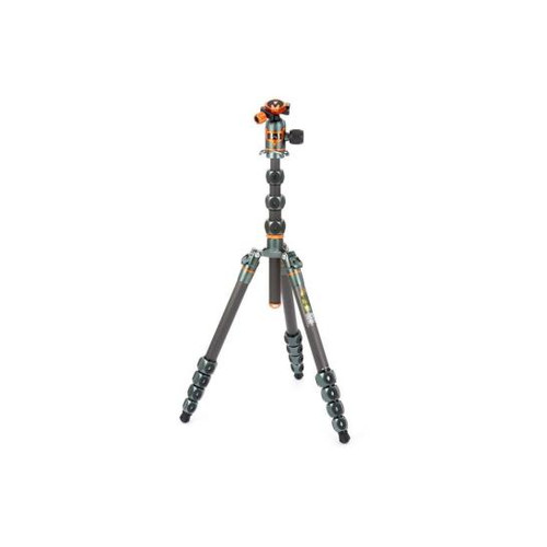 3 Legged Thing Legends Bucky 5-Section Carbon Fiber Travel Tripod System with AirHed Vu Ball Head, Gray