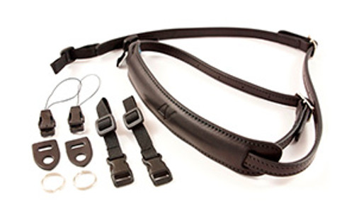 4V Design Slim Neck Strap Kit Lusso Tuscany leather Black/Black