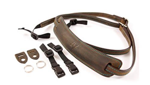 4V Design Medium Neck Strap Kit Lusso Washed Tuscany Leather Green/Cyan
