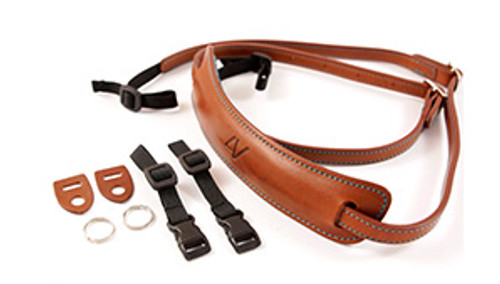 4V Design Medium Neck Strap Kit Lusso Tuscany Leather Brown/Cyan