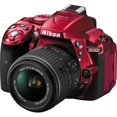 Nikon D5300 DSLR Camera with 18-55mm VR II Lens (Red)