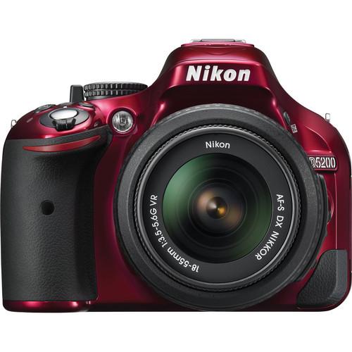 D5200 Digital SLR Camera With 18-55mm Lens (Red)