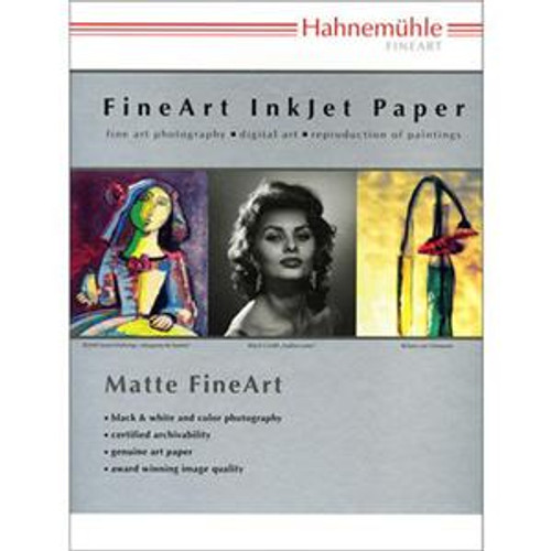 "Hahnemuhle Matte Photo Rag, 310 gsm 100 % Rag, Smooth, Extra Bright White Inkjet Paper, 13x19"", 25 Sheets"
