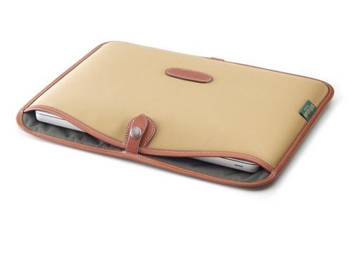 """Billingham Slip Case for 13"""" Laptop (Black Canvas & Tan Leather Trim)"""