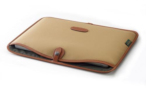 """Billingham Slip Case for 15"""" Laptop (Khaki Canvas & Tan Leather Trim)"""