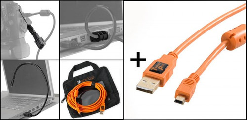 Tether Tools Starter Tethering Kit with 15' USB 2.0 Mini-B Cable, Orange