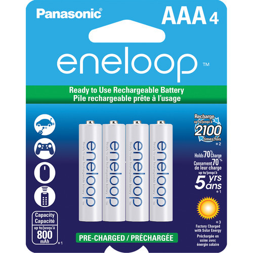 Panasonic BK-4MCCA4BA eneloop AAA New 2100 Cycle Ni-MH Pre-Charged Rechargeable Batteries, 4 Pack