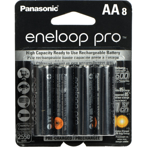 Panasonic 8pk-BK-3HCCA8BA eneloop pro AA High Capacity New Ni-MH Pre-Charged Rechargeable Batteries,