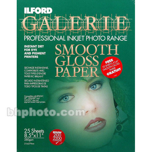 Ilford Smooth Gloss 25 Sheets (8.5x11) & 10 4x6 Sheets