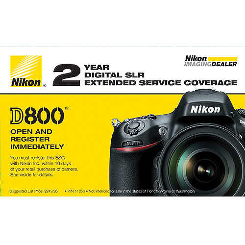 Nikon 2-Year Extended Service Coverage (for Nikon D810, D800 and D800E Digital Cameras