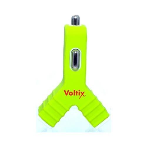 Voltix Dual USB Car Charger 3V (1.5V per port) - Green