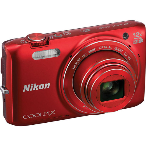 Nikon COOLPIX S6800 16 MP Wi-Fi CMOS Digital Camera with 12x Zoom NIKKOR Lens and 1080p HD Video (Red)