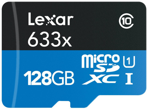 Lexar 128GB High-Performance microSDXC 633x Class 10 UHS-I Memory Card with USB 3.0 Reader