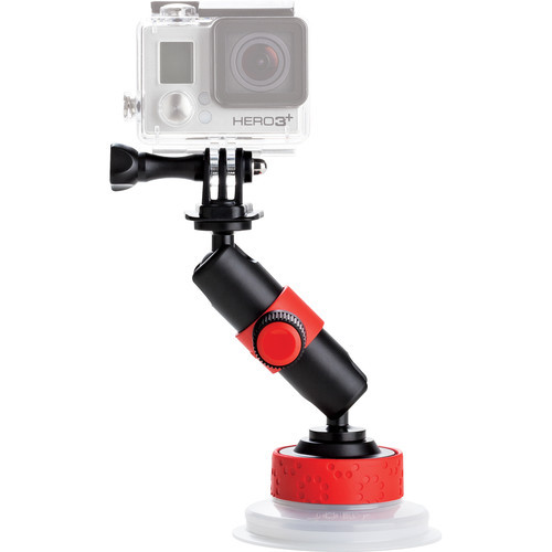 Joby Action Camera Suction Cup & Locking Arm (Black/Red) for GoPro and Action Sports Video Camera Camcorders