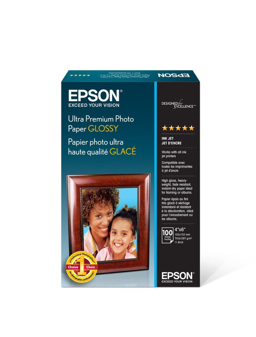 "Epson Ultra Premium Glossy Photo Paper - 4x6"" - 100 Sheets"