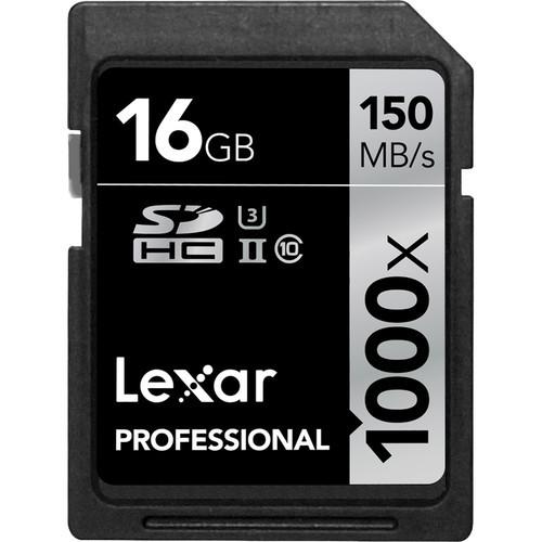 Lexar 16GB Professional 1000x UHS-II SDHC Memory Card (Class 10, UHS Speed Class 3)