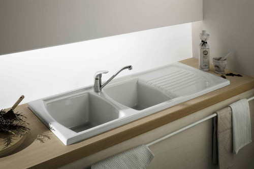 Turner Hastings Turner Hastings Lusitano 120 x 50 Inset Fine Fireclay Kitchen Sink - Double Bowl and Single Drainer