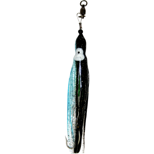 Squid Skirt Hoochie Lure - Black & Luminous Aqua Blue Sparkle