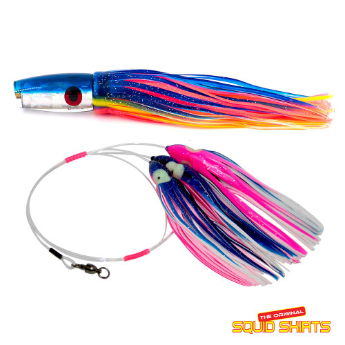Dorado Squid Pink//Purp//Clear Daisy Chain Lure Professional Rigged 8//0 Hook Tuna