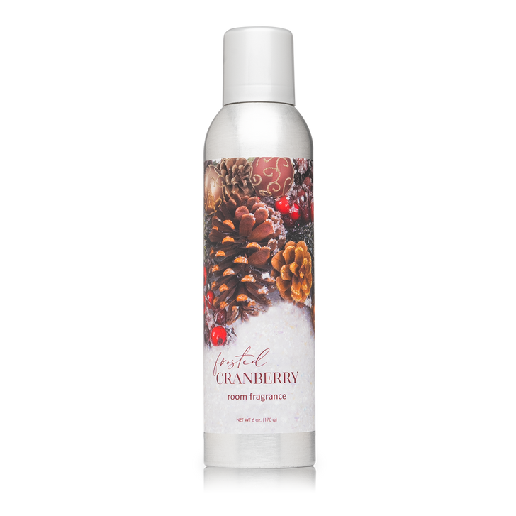6 oz. Frosted Cranberry Room Fragrance Spray with essential oils.