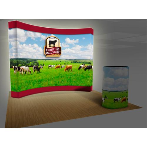 10ft VBURST Curved BACKLIT Fabric Pop-up Display Kit