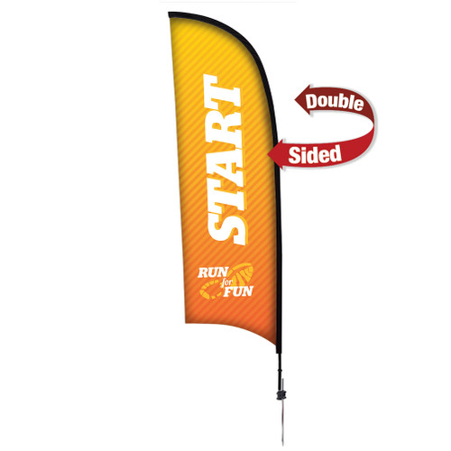 9' Premium Razor Sail Sign Kit (Double-Sided with Ground Spike)
