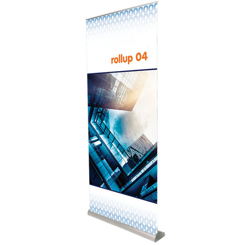 "Rollup 04 retractable banner stand 35.5""w x 83.75""h"