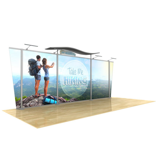 20ft Timberline Modular Display, Dye Sub Graphics, Wave Top & Tapered fabric end panels Kit 10