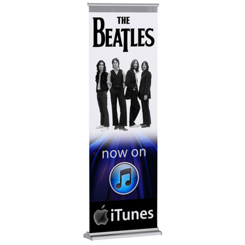 "Super Retractable Banner Stand 24""-60"" wide x 90"" high SoFlat vinyl"