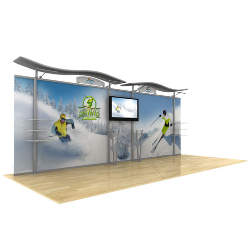 20ft Timberline Modular Display, Dye Sub Graphics, Wave Top & Straight Fabric Sides (TL1002F-S20)