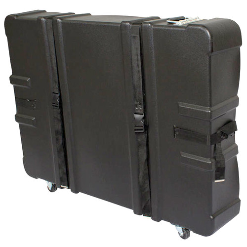 "Black Plastic Carrying Case with Wheels 34.25""H x 8""D x 43.75""W"