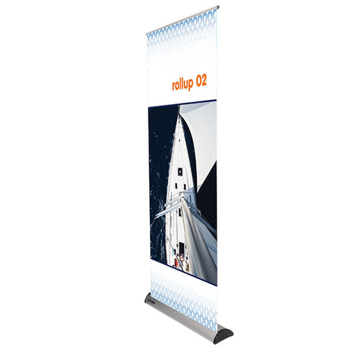 "Rollup 02 retractable banner stand 31.5""w x 60""h up to 83""h"