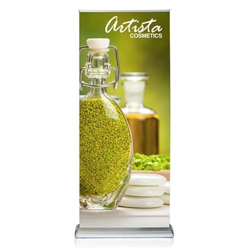 """Double Sided 36""""W x 72""""H Retractable Fabric Banner Stand"""