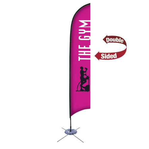 48-Hour Quick Ship 13' Premium Razor Sail Sign Kit – Double-Sided with Scissor Base
