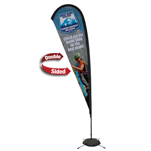 48-Hour Quick Ship 11.5' Premium Teardrop Sail Sign Kit – Double-Sided with Scissor Base