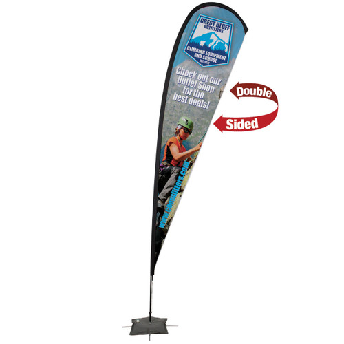 48-Hour Quick Ship 15' Premium Teardrop Sail Sign Kit – Double-Sided with Scissor Base