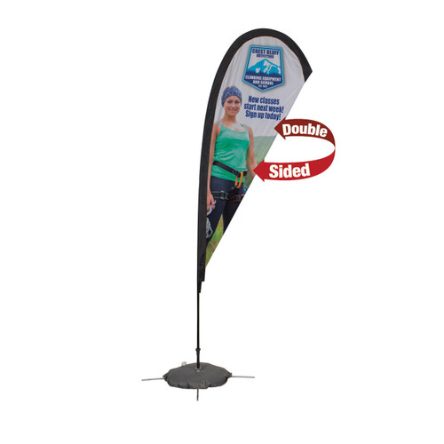 48-Hour Quick Ship 8' Premium Teardrop Sail Sign Kit – Double-Sided with Scissor Base