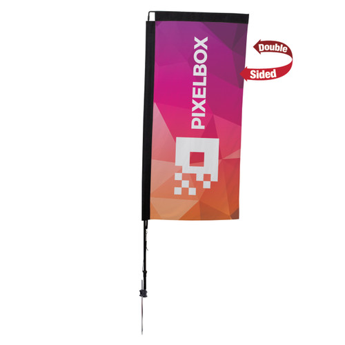 48-Hour Quick Ship 7' Premium Rectangle Sail Sign Kit (Double-Sided with Ground Spike)