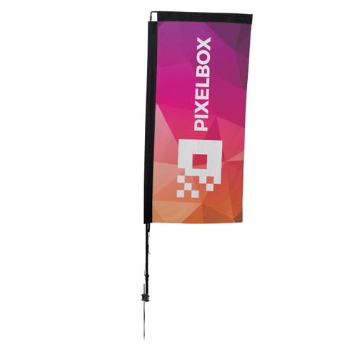 48-Hour Quick Ship 7' Premium Rectangle Sail Sign Kit – Single-Sided with Ground Spike